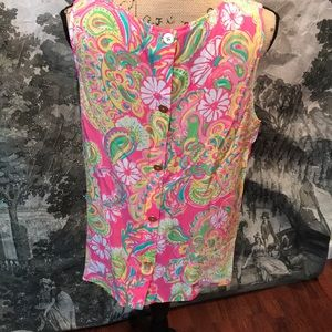 Lilly Pulitzer Tops - Silk Lilly Pulitzer sleeveless silk evening wear